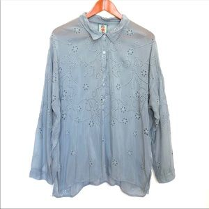 Johnny Was Blue Eyelet Floral Embroidered Shirt